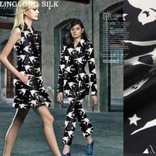 PRINTED SILK WOOL SATIN 1.4M width 40mm/28% Silk+71% Wool Satin Fabric White Silk Print Birds Black Dress Sewing for Christmas