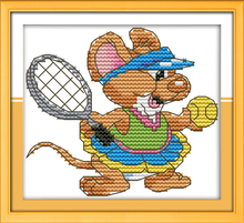 The sport mouse (10) - tennis, counted printed on fabric DMC 14CT 11CT Cross Stitch kits,embroidery needlework Sets, Home Decor(China)
