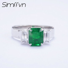 Simffvn Comfort Fit Men Luxury 1.71 CT Created Emerald Anniversary Wedding Ring 18K White Gold  Rings for Women Fine Jewelry