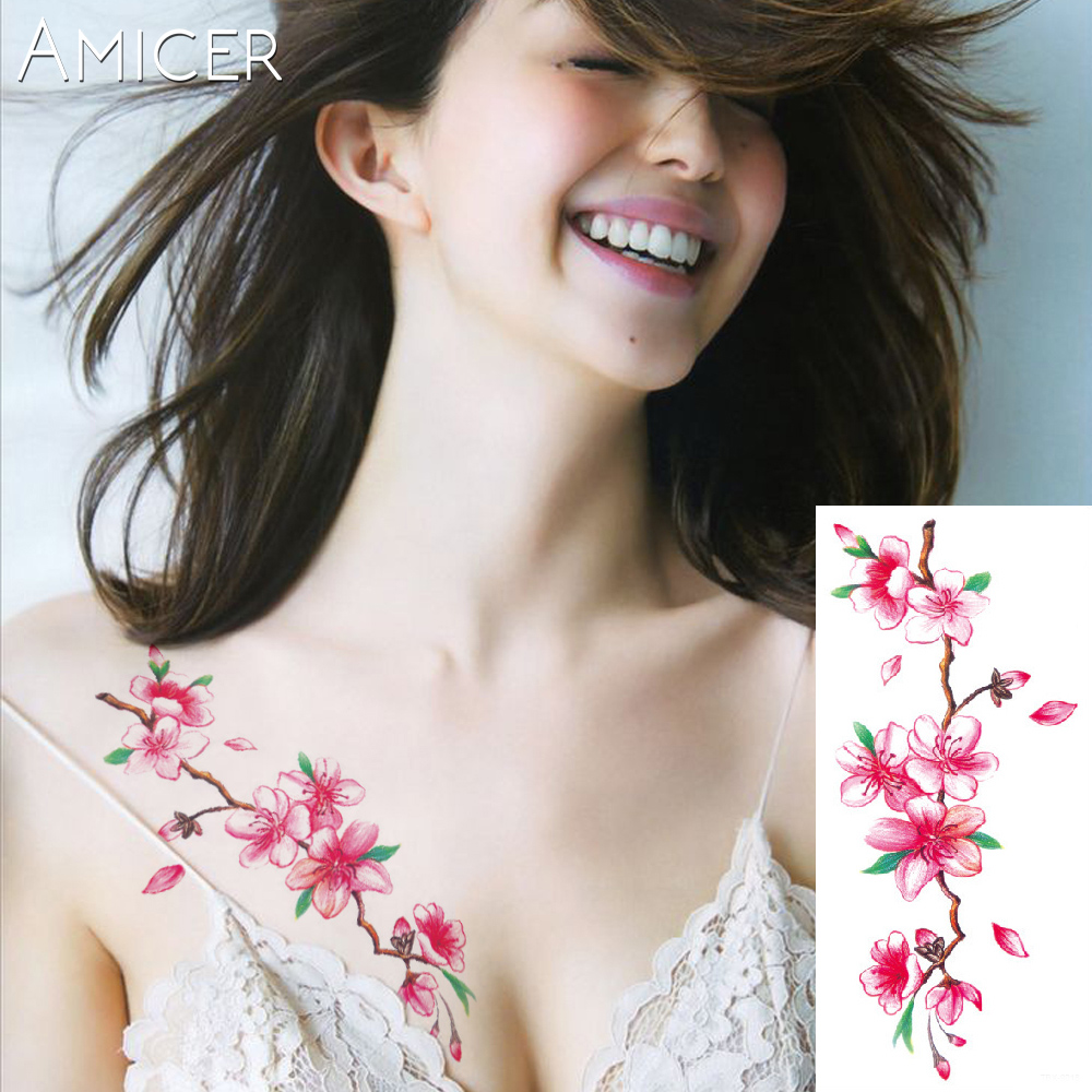 3D lifelike Cherry blossoms rose big flowers Waterproof Temporary tattoos women flash tattoo arm shoulder tattoo stickers 2