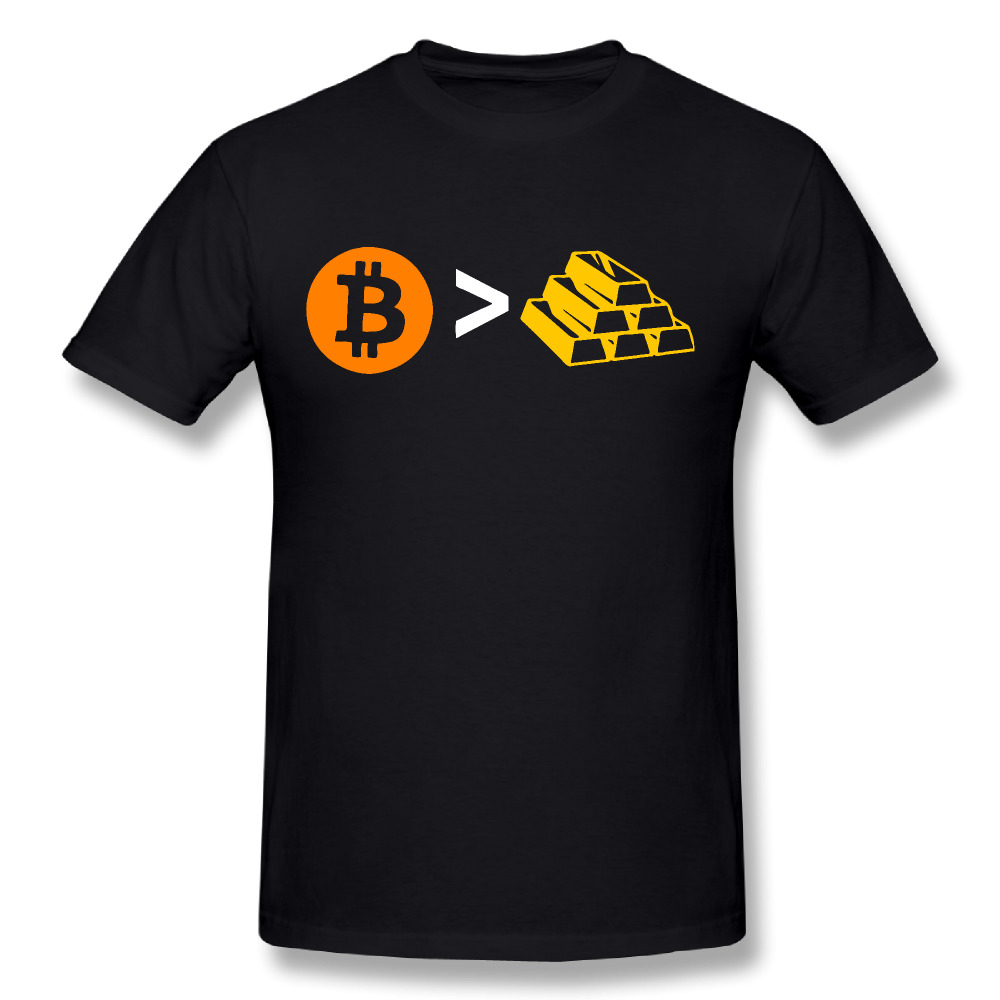 Pure Cotton Men Clothing Short Sleeve T-Shirts O-Neck Bitcoin Gold T shirt Bullion Tee