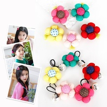 Girls Sunflower Elastic Hair Bands Red Yellow Rose Red Pink Green Hair Rope Fashion Children Hair Rings Girl Hair Wear