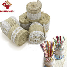Hourong a Roll Length 2M 5cm Width Lace Natural Burlap Jute Ribbon Roll Vintage Wedding Decoration Event Craft Gift Wrapping(China)
