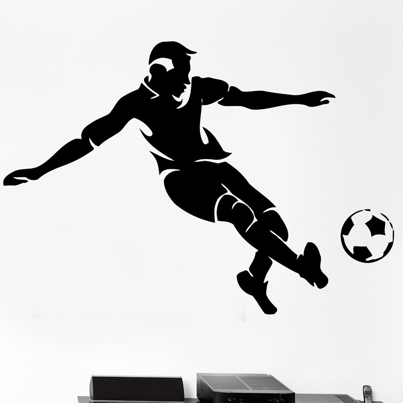 Football Player Sticker Sports Soccer Decal Name Posters Vinyl Wall Decals Pegatina Quadro Parede Decor Mural Football Sticker