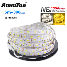5M 5050 SMD Led Strip Warm White / White DC12V Non-waterproof 300LEDs Flexible Strip Light Lamp Indoor Home Decoration(China)