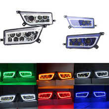 ATV UTV LED Headlights L/R With DRL White Red Yellow Green Blue Halo Rings Angel Eyes For Polaris RZR 900 / 1000 S XP Turbo