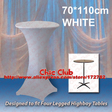 70*110cm White Stretch Cocktail Poseur Dry Bar Spandex Table Cover for 4 legs highboy tables Cloth Wedding Event Diameter