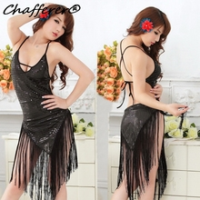Chafferer Sexy Sequin Tassel Women Dance Costume Lingerie Nightclub Stage Performance Sling Dress Ballroom Competition Dresses(China)