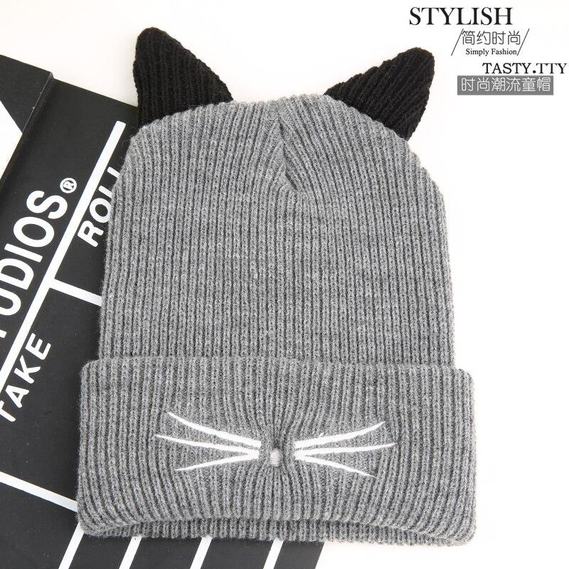 Hot Sale Boys Winter Hats Solid Double Ears Cute Cat Warm Hats for Kids Children Boys wool knitted hats gorro lanaÎäåæäà è àêñåññóàðû<br><br><br>Aliexpress