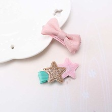 1 set = 2pcs Kids Children Accessories Hairpins Barrettes Baby Fabric Ribbon Bow Flower Headwear Hair clips Girls Headdress