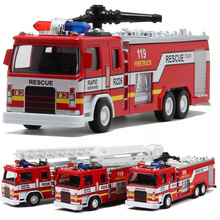 New Alloy Fire Truck Model Toys with Musical Flashing Pull Back DIY 80% Alloy Ratio Diecast Vehicles Random