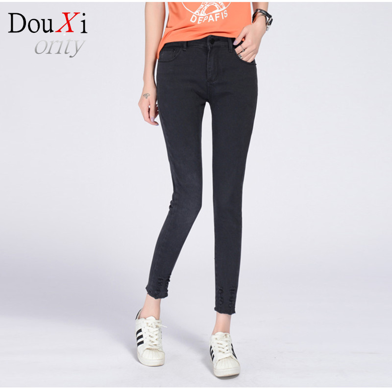 Women Jeans Large Size High Waist spring 2017 Blue Elastic Long Skinny Slim Jeans Trousers For Women 26-32 Size Одежда и ак�е��уары<br><br><br>Aliexpress