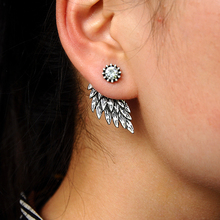 New Fashion Black Gold Silver color Gothic Women Cool Jewelry Angel Wings Rhinestone Leaves Stud Earrings Vintage Gifts