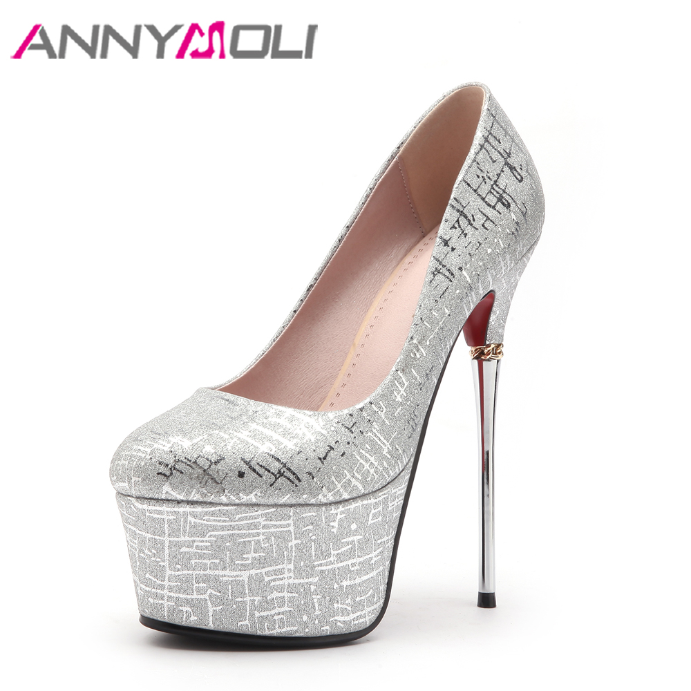 ANNYMOLI Extreme High Heels Platform Shoes Women Pumps Sexy Ladies Party Shoes Stiletto Evening Pumps White 16 cm Heels Red<br>