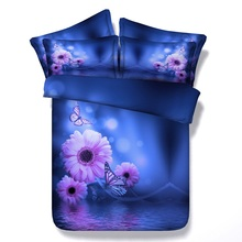 3D Blue floral Bedding set Daisy Flower duvet cover sets bedspread bed sheet linen Cal king queen size twin double bedset 4PCS(China)