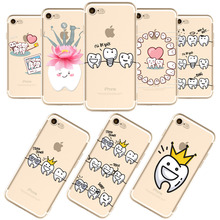 Unique Design Cute Lovely Wisdom Teeth Dentist Tooth Love Phone Cases For iPhone 7 7Plus Transparent Clear Silicone Cover Coque