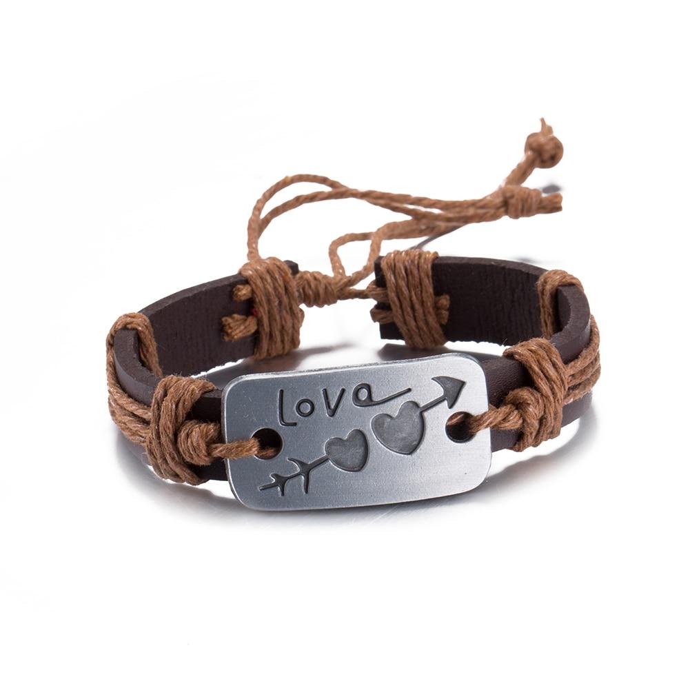 Vintage Brown Handmade Charm Love Heart Leather Bracelet Alloy Hemp Rope  Adjustable Charm Bracelets For Men
