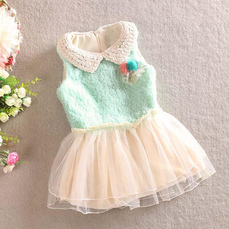 New Beautiful Baby Girls winter  Clothes kids Lace Flower Vest  Gauze Dress toddler girls christmas dress<br><br>Aliexpress
