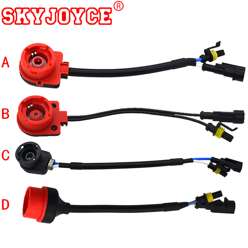 SKYJOYCE 10PCS Xenon HID Bulb D2S D4S connector adapter socket base to AMP adapter Plug terminal D2S ballast light accessories