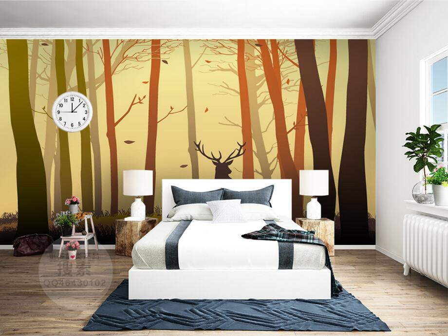 Papel de parede Nordic forest elk modern wallpaper,restaurant bar living room sofa TV wall children bedroom 3d murals<br>