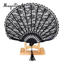 MagiDeal Chinese Vintage Lace Trim Bamboo Hand Fan Folding Fan Pocket Dancing Fan Wedding Party Favors Gifts Home Decoration