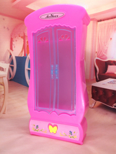 NK One Set  Doll Accessories Pink Wardrobe Closet For Barbie Doll Princess Dreamhouse Furniture Miniature Best Gift For Child