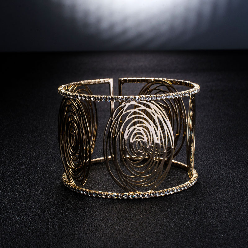 Fashion Wide Cuff Bracelets for Women Gold Color Metal Sparkly Crystal Rhinestone Round Flower Open Bangle Bracelet (7)