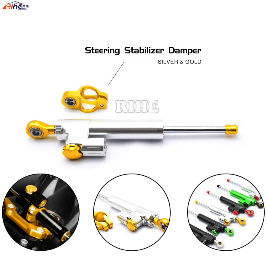 Universal Motorcycle CNC Damper Steering Stabilizer Linear Reversed Safety Control for KTM Duke 200 390 125 Suzuki GSXR GSX-R 60<br>