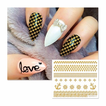 YZWLE 1 Sheet Gold Lace Flower Nail Stickers Beauty Nail Art 3D Decal Decorations Sticker On Nails Accessories 6017