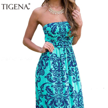 TIGENA Boho Summer Dress Women 2017 Summer Sundress Tunic Off Shoulder Floor Length Long Maxi Beach Dress Shirt Robe Femme(China)