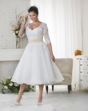 Cecelle 2016 Short VintageTea Length Plus Size Wedding Dresses Half Sleeves A-line Beaded Appliques Buttons Modest Bridal Gowns(China)