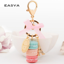 EASYA France Paris 5 Colors Cute Macaroon Effiel Tower Macarons Keychain Colorful Keyring Bag Pendant Car Charm Key Holder(China)