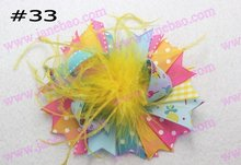 free shipping 35pcs feather hair bows Girl funky hair bows boutique girl hair bows(China)