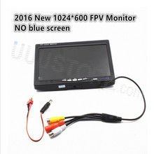 "2016 New NO blue 7""FPV LCD Color 1024 x 600 FPV Monitor Video Screen 7 inch for Rc Multicopter Ground Station ZMR250 QAV280"