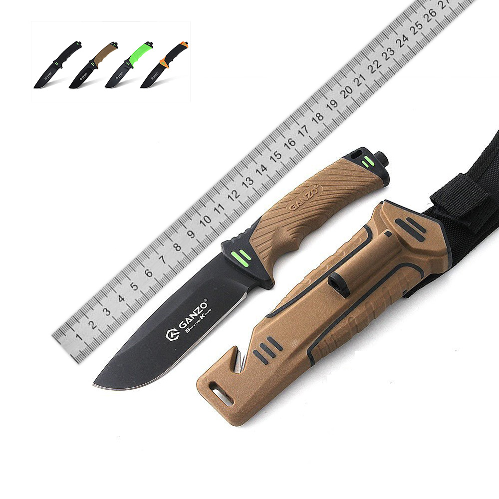 New Arrival GANZO G8012 Fixed Blade Knife Sharper Rope Cutter Camping Hunting Survival Tactical bushcraft multitool Knives