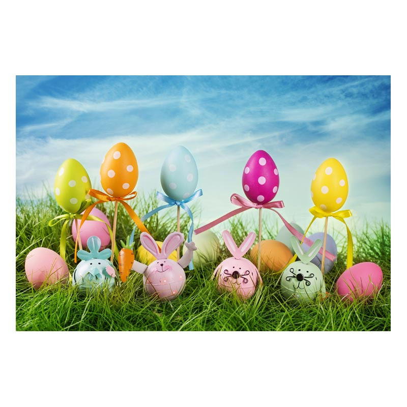 2.2MX1.5M For taking pictures there are beautiful flowers and colorful eggs happy Easter printed vinyl background GE-182<br><br>Aliexpress