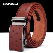 MAPASTA Ostrich pattern leather belt fashion automatic buckle men leather belt men business belt 110-125CM
