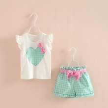 2-6Y Kids Baby Girls Clothes Set Sleeveless Heart Bow Tops+Plaid Shorts  New