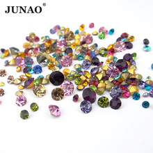 JUNAO 1100pcs Mix Color Mix Size Point Glass Nail Rhinestones Round Crystals Stones Pointback Strass for Clothes Jewelry Crafts