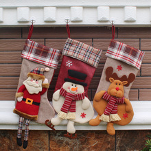 59cm Christmas Stocking Santa Claus Xmas Stocking Cartoon Cookies Candy Holder Gift Bag Container Christmas Decorations Supplies