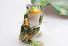 Hear No Evil Frog Trinket Box  Mini Frog Trinket Box  Bejeweled Metal Hinged Collectable Frog  Box Frog Trinket Box