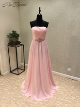 New Arrival Cheap Long Prom Dresses 2018 Strapless Zipper Back Floor Length Chiffon Party Dresses Vestido de festa