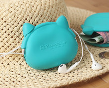 Fresh lake blue cat ear silicone Purse Mini Bag digital coin bag buckle