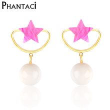 2017 New Designer Pink Acrylic Star Stud Earrings Simulated-pearl Gold Color Women's Lady Earrings(China)