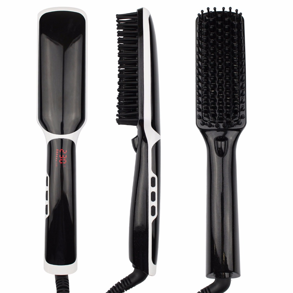Black White Hair Straightening Brush SHOWLISS Portable Electric Hair Brush PTC Heating Ceramic Brush Hair Straightener Comb<br>