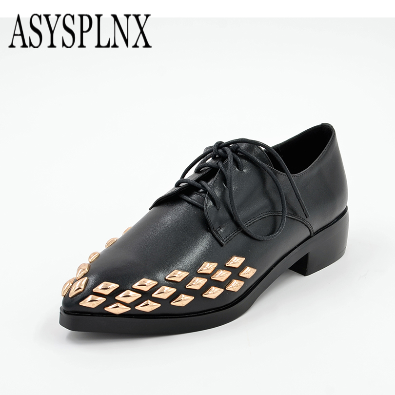 ASYSPLNX brand genuine leather black pointed toe lace upcasual shoes woman spring style western fashion Rivets women flats shoes<br><br>Aliexpress