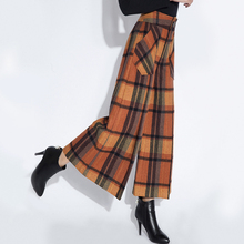 Autumn Winter Fashion Womens Orange Red Coffee Plaid Wide Leg Woolen Capris Pants, England Style Loose Wool Trousers For Woman(China)