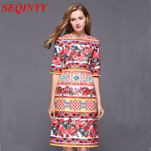 Jacquard Dress 2017 Autumn Women Nice Multicolor Slim A-line Hot Sale Square Rose Design New Dress