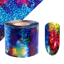 Gradient Starry Sky Nail Foil Blue Holographic Paper Nail Manicure Sticker