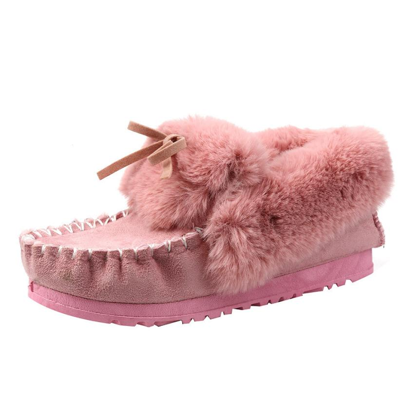 Naivety Winter Plush Appliques Fashion Women Flat Ankle Faux Fur Lined Warm Snow Cute Loafers Shoes 30S61123 drop shipping<br><br>Aliexpress